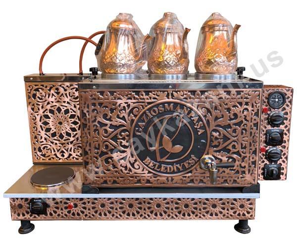 3 Demlikli Elektrikli Bakır Çay Kazanı - Logo İşlemeli